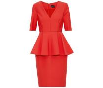 Flared stretch-cady peplum dress