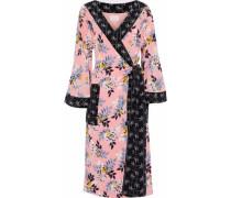 Camellia Printed Silk Crepe De Chine Wrap Midi Dress Baby Pink  /S