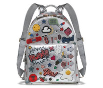 All Over Wink Stickers printed metallic textured-leather backpack
