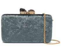 Margaux Stone-embellished Crushed-velvet Clutch Grey Green Size --