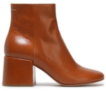 Ring-embellished Leather Ankle Boots Light Brown
