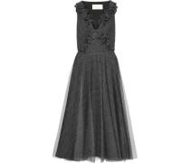 Embellished Metallic Tulle Midi Dress Black