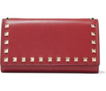 Rockstud Leather Continental Wallet Red Size --