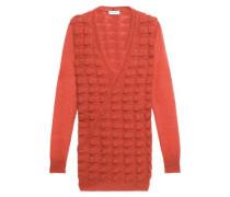 Wrap-effect textured mohair-blend sweater