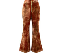 Cooly Chant Crushed-velvet Kick-flare Pants Copper