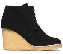 Suede Wedge Ankle Boots Black