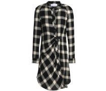 Gathered checked flannel shirt dress