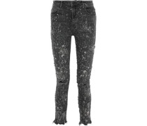 Whiplash Bleached Distressed Mid-rise Skinny Jeans Dark Gray  8