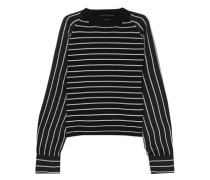 Striped wool-blend and satin sweater