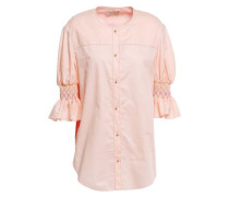Woman Floral-print Twill-paneled Smocked Cotton And Silk-blend Shirt Peach