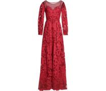Mesh-paneled Crepe Fil Coupé Gown Claret