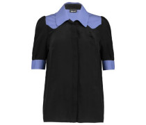 Crepe-trimmed washed-silk shirt
