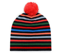 Pompom-embellished Striped Wool And Cashmere-blend Beanie Multicolor Size ONESIZE