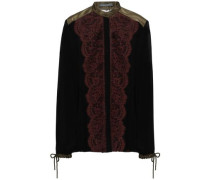 Paneled Silk-georgette, Satin And Lace Shirt Black