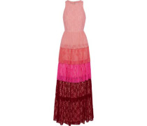 Tiered color-block lace gown