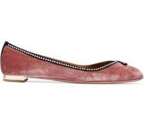 Lou Lou faux pearl-embellished velvet ballet flats