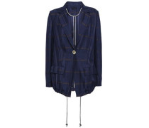 Gathered Checked Jacquard Blazer Navy