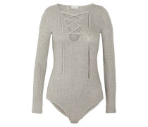 Lace-up Ribbed-knit Bodysuit Gray