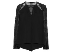 Cutout Guipure Lace-paneled Cady Top Black