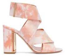Tie-dyed Leather Sandals Pastel Pink
