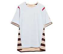 Woman Striped Cotton-jersey T-shirt Sky Blue