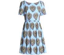 Pleatec printed cotton-poplin mini dress