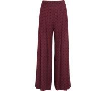 Pleated polka-dot crepe wide-leg pants