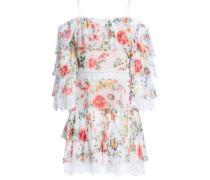 Cold-shoulder Floral-print Silk-voile Mini Dress Ivory