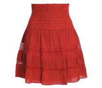 Striped smocked silk-crepe mini skirt