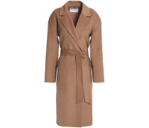 Belted Wool-blend Felt Coat Light Brown