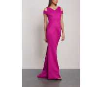 Cold-shoulder Fluted Knitted Gown Magenta