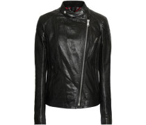 Colbert cracked-leather biker jacket