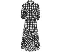 Stirling Asymmetric Checked Jacquard Dress Black Size 12