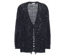 Woman Sequin-embellished Open-knit Cardigan Navy