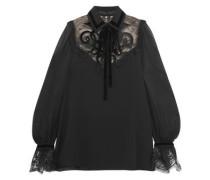 Pussy-bow Point D'esprit-paneled Chiffon Blouse Black
