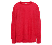 Brushed-knitted Sweater Red