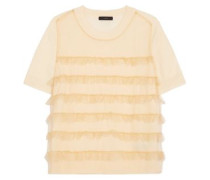 Ruffled tulle and merino wool top