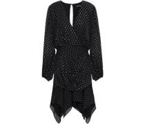 Wrap-effect Ruffled Fil Coupé Chiffon Mini Dress Black