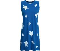Distressed Printed Cotton-jersey Mini Dress Cobalt Blue Size 0