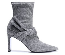 Helin knotted metallic stretch-knit sock boots