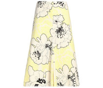 Floral-print cotton-poplin midi skirt