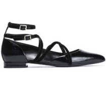 Velvet-trimmed Patent-leather Point-toe Flats Black