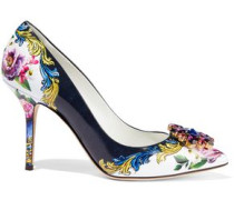 Crystal-embellished Floral-print Glossed-leather Pumps Multicolor