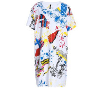 Flocked Printed Cotton-jersey Mini Dress White