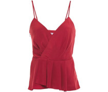 Woman Annabelle Wrap-effect Pleated Satin Camisole Claret