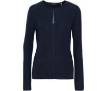 Lyndi metallic tulle-trimmed ribbed merino wool sweater