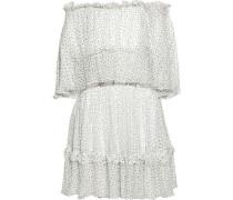 Off-the-shoulder Ruffle-trimmed Polka-dot Silk-georgette Dress Ivory
