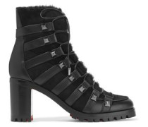 Shearling And Leather Ankle Boots Black