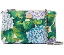 Floral-print Textured-leather Clutch Green Size --
