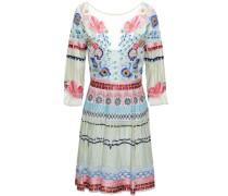 Embroidered Silk-blend Tulle Mini Dress Light Blue Size 14